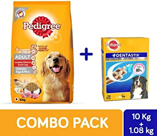Pedigree Adult Dry Dog Food Chicken Egg & Rice, 10 Kg + Dentastix Large Breed Dog Oral Care Treat, 720 g Monthly Pack (28 Sticks)