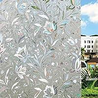UMI.3D Fensterfolie Sichtschutz Folie Fenster Selbstklebend für Badezimmer Schlafzimmer Küche (Tulip)