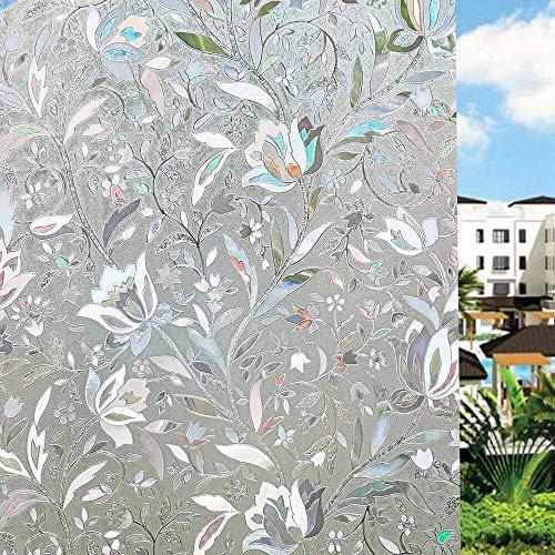 UMI.3D Fensterfolie Sichtschutz Folie Fenster Selbstklebend für Badezimmer Schlafzimmer Küche (Tulip) (90 x 400 cm)