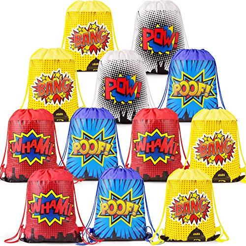 Superhelden-Partytüten für Superhelden-Party, Geschenktüten mit Kordelzug, für Superhelden-Motto, Kindergeburtstag, Dekoration, Set mit 24 (4 Farben)