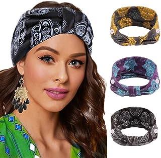 Earent Boho African Headbands Yoga Wide Knot Hair Bands Sweat Printed Headwraps Elastic Turban Headscarfs Purple Headwear ...