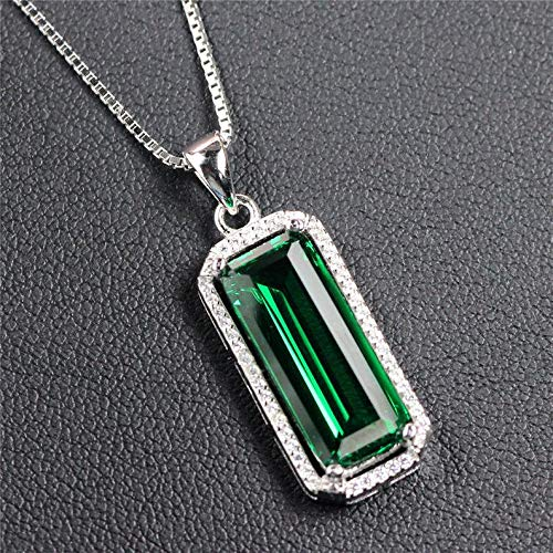 Green Emerald Pendant Necklace, Created Emerald, Sterling Silver Pendant For Women, May Birthstone, Engagement Wedding Art Deco Aesthetic