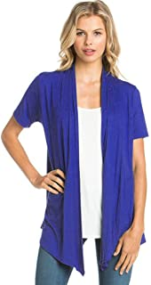 Basic Solid Short Sleeve Open Front Cardigan (S-3X) - Made in USA