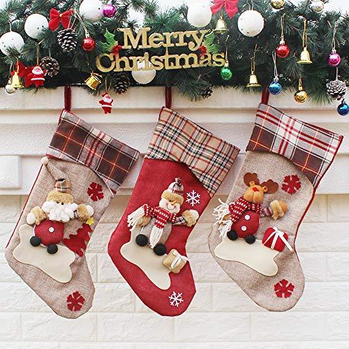 SCCS Calcetines de Navidad para Colgar Chimeneas Decorativas Adornos Navidad Arbol Balcon Ventanas Bolsa de Regalo de Calcetín Navideño (Grande, Antracita (Juego de 3))