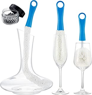 3 Pieces Wine Decanter Cleaning Brush Flexible Bottle Scourer with Stainless Steel Decanter Cleaning Balls Multi-Function ...