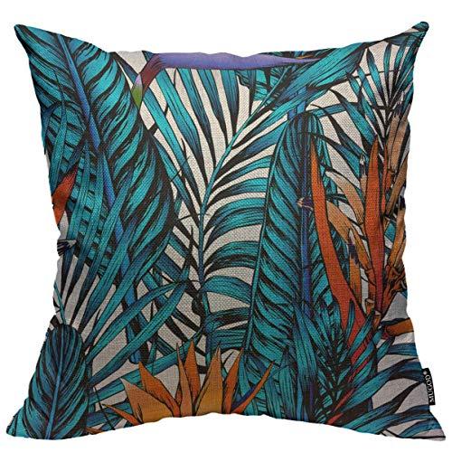 Phjyjyeu, federa per cuscino con foglie tropicali, foglie blu, palma e fiori arancioni, motivo quadrato decorativo per casa, camera da letto, soggiorno, 45,7 x 45,7 cm