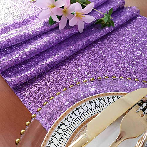 ShinyBeauty 12x72-Inch Rectangle-Lavender-Sequin Table Runner- for Wedding/Party/Decor