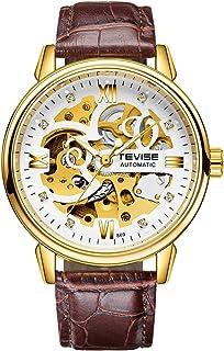 Men Watches Automatic Mechanical Skeleton Watch Genuine Leather Band Luminous Hands 3ATM Waterproof Male Fashion Wristwatc...
