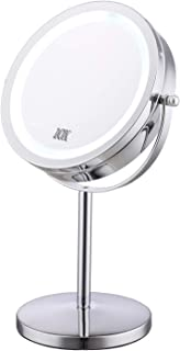 """Lighted Makeup Mirror - 7"""" LED Vanity Mirror 10X Magnifying Double Sided Swivel Cosmetic Mirror Chrome Finish"""