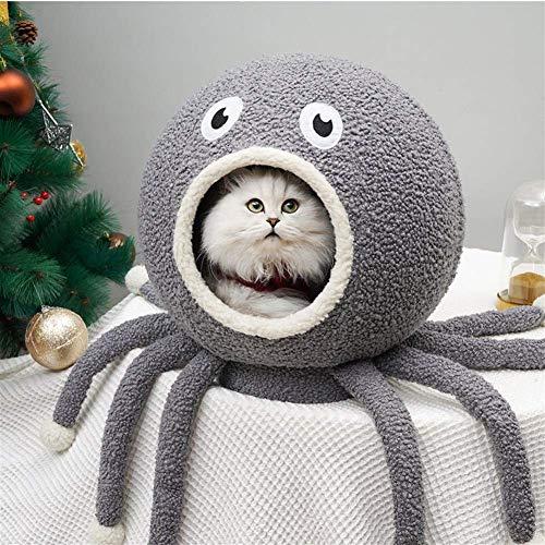 Semi-Closed Octopus Haustier-Bett Für Katze Hund, Winter Cat House Kennel Katzentoilette, Kleinen Und Mittleren Pet Schlafzimmer, Deep Sleep,Grau