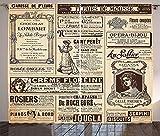 Waple Cortinas opacas ojete para sala de estar Cortinas de París, revista de periódico histórico antiguo vintage diseño de arte de letras de papel francés 280*180cm Cortinas Opacas de Salón Dormitorio