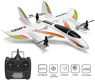 XK X450 RC Drone Remote Control Aircraft Aerobatic RC Airplane Glider with Gyro,Brushless Motor 2.4G 6Ch 3D / 6G Vertical Takeoff Rc Helicopters LED Fixed Wing Rc Glider RTF Plane Children and Adults