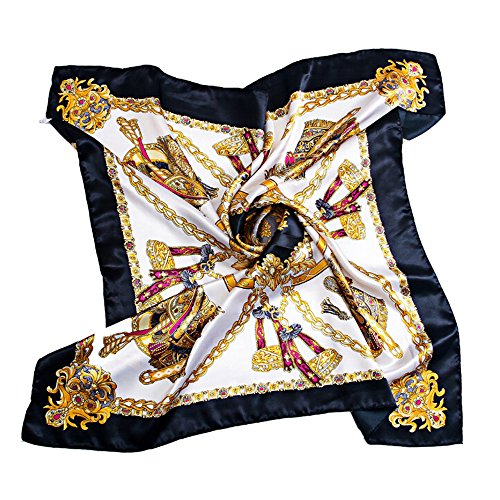 Bluelans® Damenschal Faux Seidenschal Seidentuch Blume Bandana Halstuch Kopftuch Schal 90 x 90 cm Bunte (Schwarz)