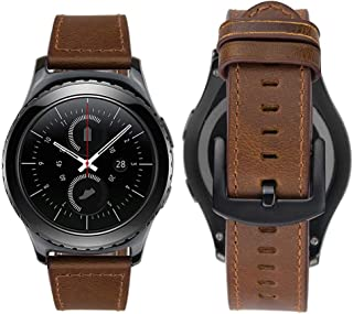 iBazal Gear S2 Classic Leather Band 42mm, Vintage Gear S2 Classic Band with Black Clasp 20mm Genuine Leather Strap Replacement Band for Samsung Galaxy Watch 42mm/Gear S2 Classic SM-R732 (Brown)