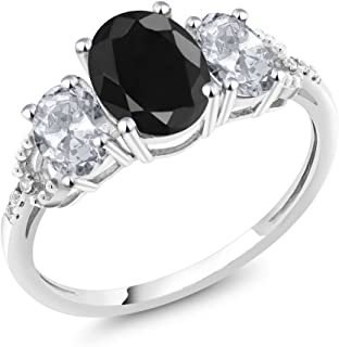10K White Gold Black Sapphire White Topaz and Diamond Accent 3-Stone Engagement Ring 2.71 Ct (Available 5,6,7,8,9)