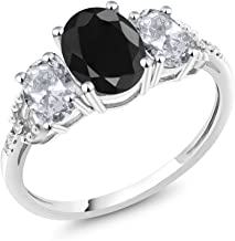 Gem Stone King 10K White Gold Black Sapphire White Topaz and Diamond Accent 3-Stone Engagement Ring 2.71 Ct (Available 5,6,7,8,9)