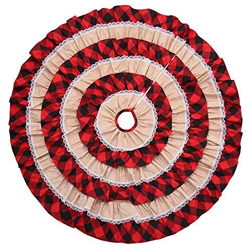 Luccase Rot Leinen Weihnachtsbaumrock 45,7 Zoll Weihnachtsbaum Rock mit Baumwollplaidkanten Plaid Ruffle Edge Border Runde Matte Xmas Dekor