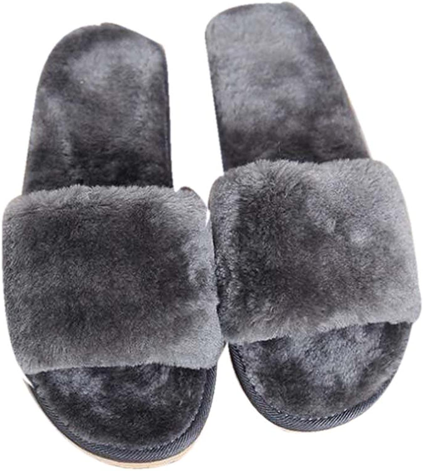 Naughtyangel Couples Families Anti-Slip Open Toe Sandal Cozy Plush House Slippers Indoor or Outdoor shoes