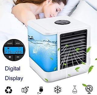 IXL Portátil de 7 Colores Luz Nocturna Diseño Creativo Ventilador refrigerado por Aire Máquina Hogar Coche Oficina USB Mini Humidificador Aire Acondicionado de Escritorio, 4