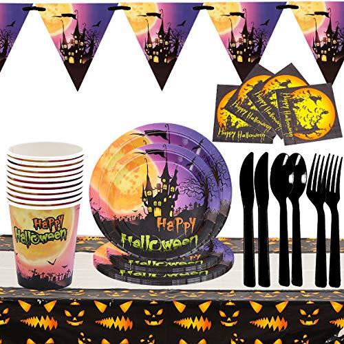 WENTS Set Festa di Compleanno 82 Pezzi Set da Stoviglie per Feste di Halloween, Piatti, Tovaglioli, Cannucce, Striscioni, Coltelli, Cucchiai e Forchette, Forniture per Feste di Halloween