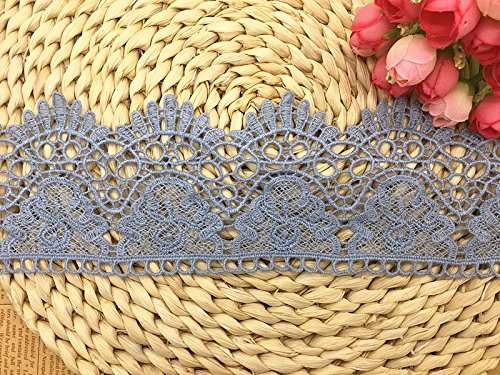 9CM Width Europe Crown Pattern Inelastic Embroidery Lace Trim,Curtain Tablecloth Slipcover Bridal DIY Clothing/Accessories.(2 Yards in one Package) (Light Blue)