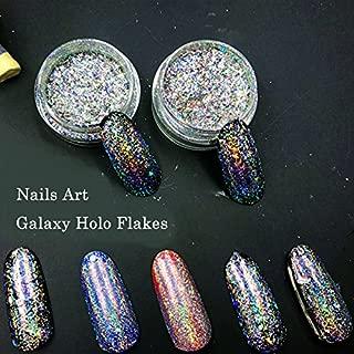 MIOBLET 0.2g Galaxy Holo Flakes Nail Glitter Irregular Rainbow Bling Chrome Magic Effect Nails Art Holographic Powder Dust