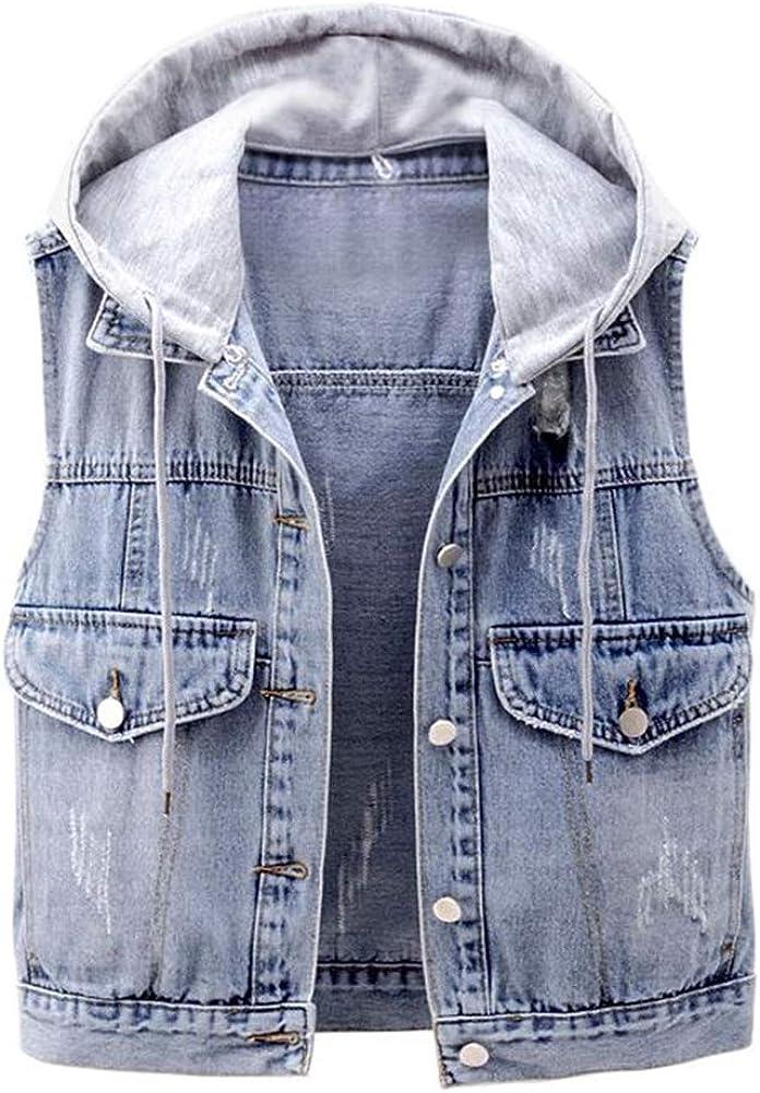 LifeShe Women's Girls Sleeveless Denim Vest Jean Jacket with Removable Hood