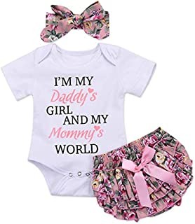 Newborn Baby Girls I Am My Daddys Girl and My Mommys World Romper Jumpsuit Bodysuit +Pants Shorts+Headband Outfit Set