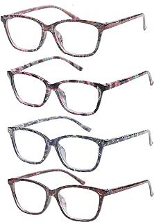SOOLALA Anti-Blue Blocker Light Reading Glasses 4 Pack Quality Fashion Colorful Readers