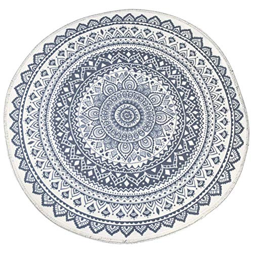 JAOMON 120cm Baumwollteppich Runder Teppich Bedruckter Teppich Gewebter Teppich Boho-Stil Runder Teppich Rutschfestes Design für Wohnzimmer Schlafzimmerteppich