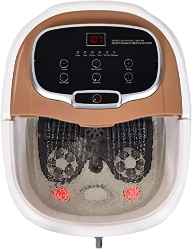 new arrival Giantex Foot Spa Bath Massager 3 in 1- Heat, 6 Motorized Massage Rollers, Adjustable Water Shower, Time online & Temperature wholesale Control, Multifunctional Feet Bath Tub for Tired Foot Stress Relief (Brown) sale