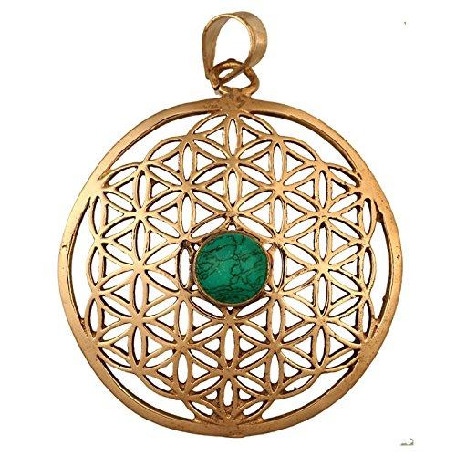 Chic-Net Messing Brass Tribal Anhänger Blume des Lebens Türkis antik golden Kette Damen