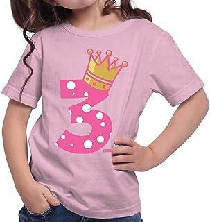 Hariz – Camiseta para niña con diseño de corona de princesa, 3 cumpleaños, incluye tarjeta de regalo