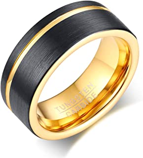 Vnox Carburo di tungsteno Wedding Band Groove Nero 8 Millimetri Uomo Smooth Viso Anello,Oro Dentro