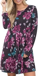QIYUN.Z Women Round Neck Long Sleeve Floral Printed Pleated Slim Tunic Dress Big Swing Above Knee Boho Dress