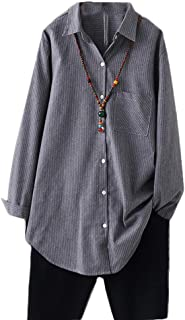 Women's Cotton Casual Shirts Vertical Stripes Tops Linen Blouse Button Down Tunic Clothing for Women
