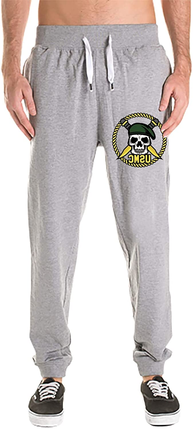 Athletic Men's Marine Corps Skull Cotton Sweatpants with Pockets