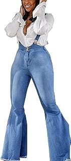 Women Jeans Denim Jumpsuits High Waisted Bell Bottom Suspender Rompers