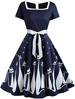 Cat Print Vintage Dress Women Summer Square Neck Short Sleeve A-Lined Dress Sweetheart Pin Up 50S Party Dresses Belt