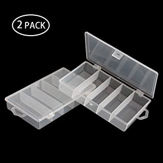SBYURE 2 Pack 5 Grid Clear Plastic Fishing Tackle Storage Box Jewelry Making Findings Organizer Box Container Case Utility Box,7x4.3x1.2inch
