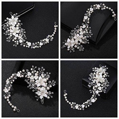 Siwetg Hoofdband voor bruid, parels, bloemensieraad, vrouwen, bruiloft, haarband, handgemaakte decoratie