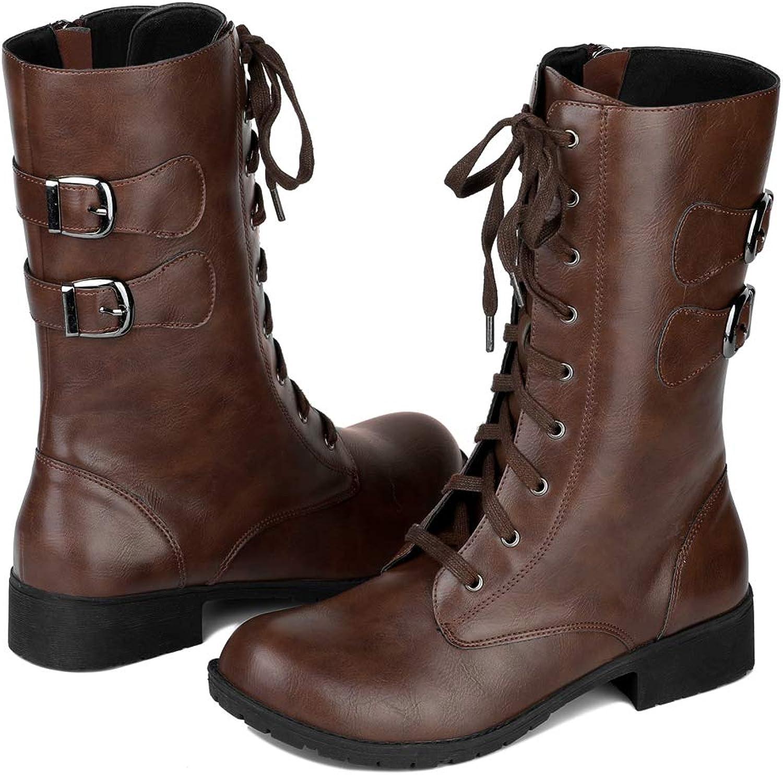 Allegra K Women's Round Toe Zip Lace Up Mid Calf Combat Boots