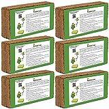 Humusziegel - 50 L Kokoserde - 6 x 650g - Blumenerde aus Kokosfaser - natürlich & torffrei - geeignet als Palmenerde, Erde für Zimmerpflanzen, Chili Erde, Pflanzenerde