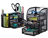 Halter Steel Mesh 2 Piece Desk Organizer Set - Oval Desk Supply Caddy and 3 Drawer Mini Hutch Organizer Storage - Black