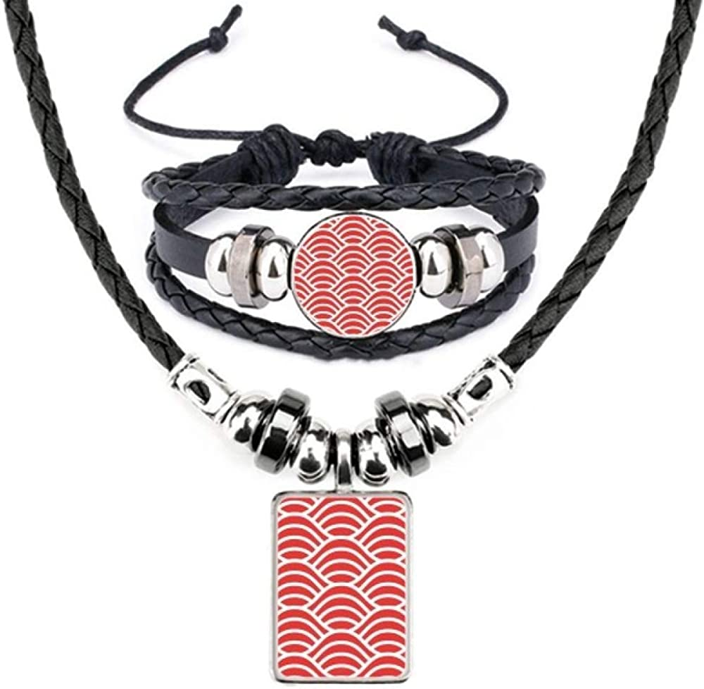 Japan Red White Waves Art Leather Necklace Bracelet Jewelry Set