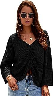 Zyyfly Womens Shirt Waffle Knit Tunic Blouse Tie Knot Loose Fitting Bat Wing Plain Irregular Shirts