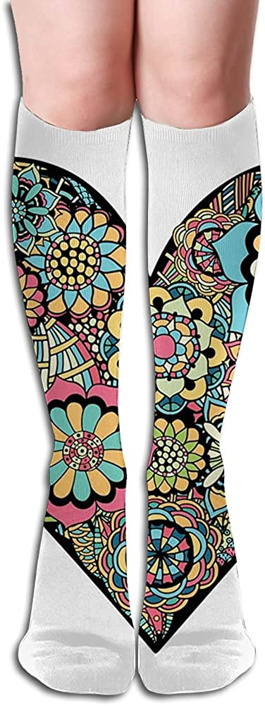 Men's and Women's Funny Casual Combed Cotton Socks,Hand Drawn Flowers Within Heart Doodle Eastern Inspired with Colors