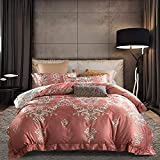FFAN Double Duvet Covers Set with Fitted Sheet, Bedding Set King Size Gold, Luxury Bedding Set Double Duvet Covers Set Silk Cotton Luxury Satin Double Bed Twin King Size 4pcs Floral