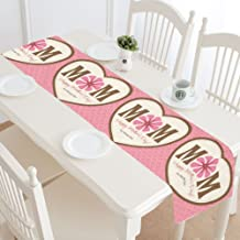 InterestPrint Happy Mother's Day Table Runner Home Decor 14 X 72 Inch,Love Heart Table Cloth Runner for Wedding Party Banquet Decoration