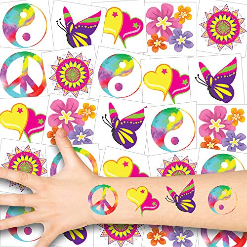 German Trendseller® - 12 x Hippie Tattoos - 70´s Set - Deluxe ┃ Peace ┃ 2X Flower Power Tattoo Set